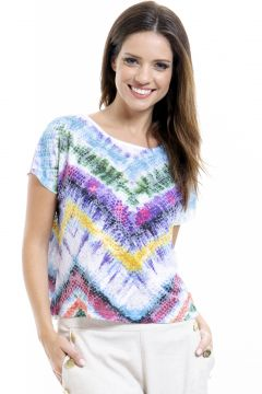 Blusa Estampada 101 Resort Wear Tie Dye Azul 101 Resort Wea