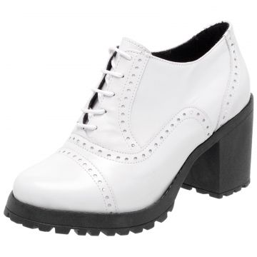 Oxford Ankle boot em Couro Q&A Casual Branco Q&A