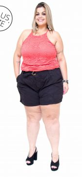 Short Cambos Plus Size Clochard Miriha Preto Cambos