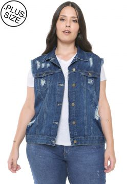 Colete Jeans Plus Size da Cambos Azul Cambos