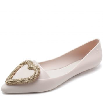 Sapatilha Melissa Pointy Heart Off-White Melissa