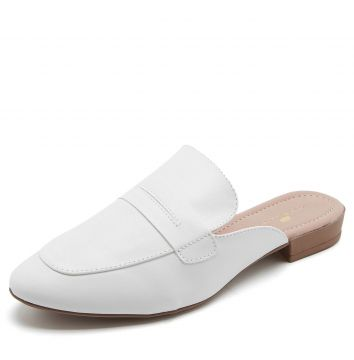 Mule Thelure Liso Branco Thelure