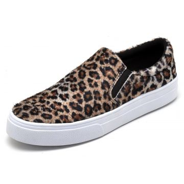 Tênis Casual Slip On Estampado BELLATRIX Onça BELLATRIX