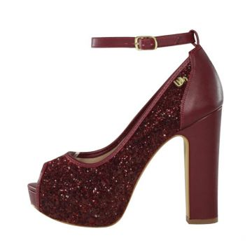 Peep Toe Meia Pata Week Shoes Glitter Glamuor Marsala Week