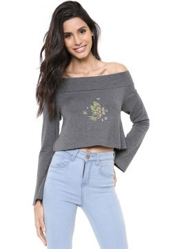 Blusa Cropped Hurley Sets Grafite Hurley