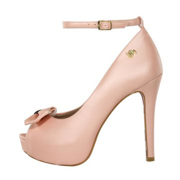d4f6822fb Peep Toe Meia Pata Week Shoes Laminado Rosé Week shoes