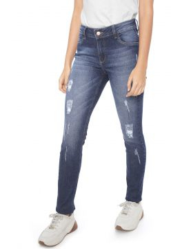 Calça Jeans Guess Skinny Destroyed Azul Guess