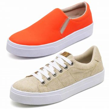 Kit Tênis Casual e Slip On BELLATRIX Bege/Laranja BELLATRIX