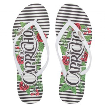 Chinelo Capricho Flowers And Stripes Branco Capricho