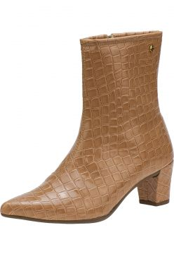 Bota Cano Curto Domidona Animal Print Croco 121.03.041 - Nu