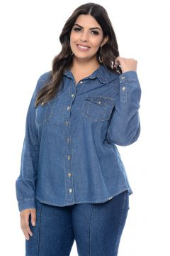 Camisa Cambos Jeans Plus Size Classic Azul Cambos