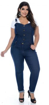 Macacão Cambos Jardineira Jeans Cropped Buttons Cambos