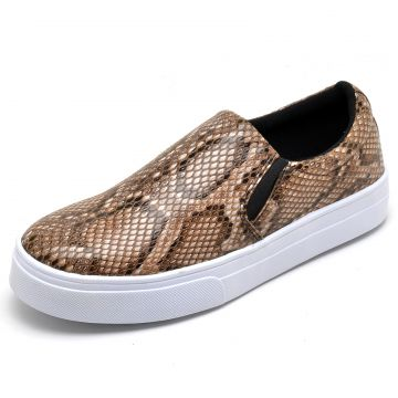 Tênis Casual Slip On Estampado BELLATRIX Castanho BELLATRIX