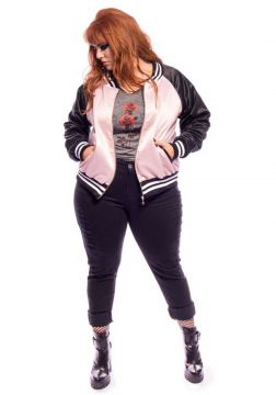 Jaqueta VINTAGE AND CATS Bomber Whatever Plus Size Rosa VIN