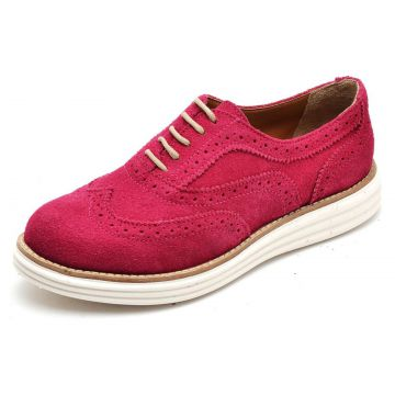 Sapato Social Top Franca Shoes Oxford Camurca Fuscia Top Fr