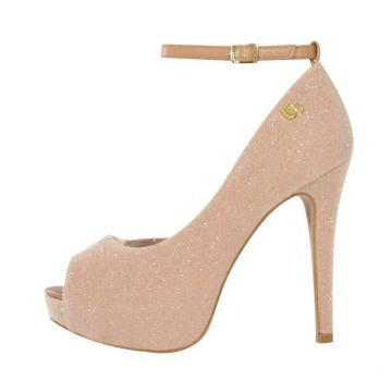 Peep toe Week Shoes Corte Lateral Nude Strass Week shoes