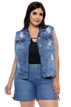Colete Jeans Cambos Plus Size Stone Azul Cambos
