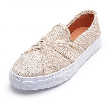 Tênis Casual Slip On Cristaishoes Bege CRISTAISHOES