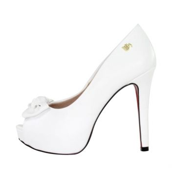 9515ad88c5 Peep Toe Meia Pata Week Shoes New Pele Branco Week shoes