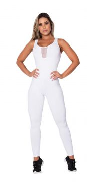 Macacão Fitness Tule White Honey Be MC063 Branco Honey Be