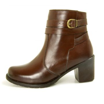 Bota Cano Curto Over Boots Isabela Couro Marrom Over Boots