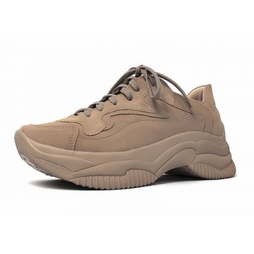 Tênis Chunky Kessy Damannu Shoes Nobuck Nude Damannu Shoes