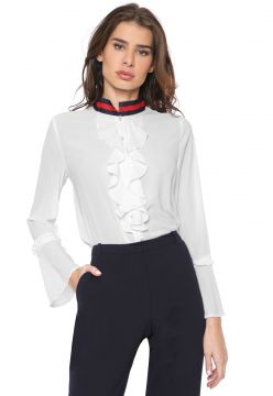 Camisa Chaire com Babado Branco Chaire