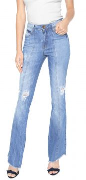 Calça Jeans Eventual Flare Destroyed Azul Eventual