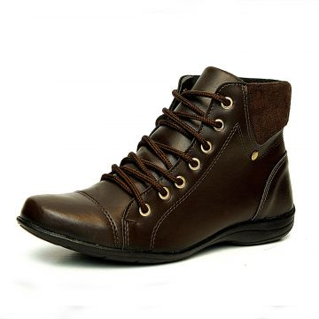 Bota Coturno Cano Curto Roed Shoes Café Roed Shoes
