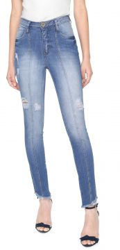 Calça Jeans Eventual Skinny Destroyed Azul Eventual