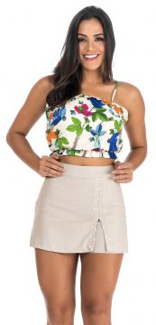 Cropped Decote Deluxe Floral Cru Decote Deluxe