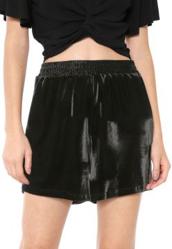 Short Mercatto Veludo Liso Preto Mercatto