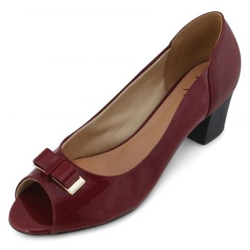 Peep Toe Lady Queen AM18-5505 Verniz Marsala Aline Melo