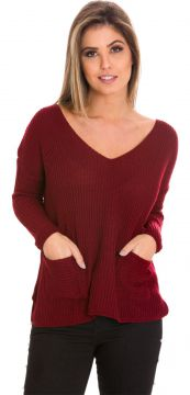 Blusa Beautifull Hit Tricot Com Bolso Frontal Marsala Beaut