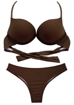c4b6363b50d6a1 Biquíni Turbo 3D Push Up Divance Chocolate Calcinha Tradici