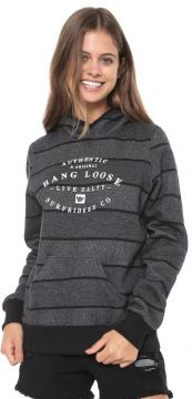 Moletom Flanelado Fechado Hang Loose Stripes Grafite/Preto