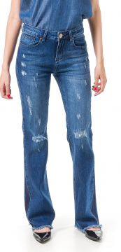 Calça Jeans Bloom Flare Taty Destroyed Azul Bloom