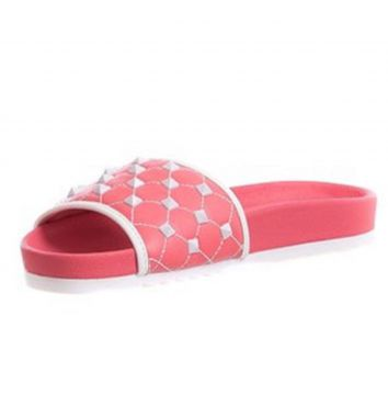 Slide Butique de Sapatos Rose com Spikers Butique de Sapato