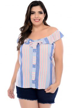 Blusa Art Final Plus Size Azul Listrada Eduarda-54 Art Fina