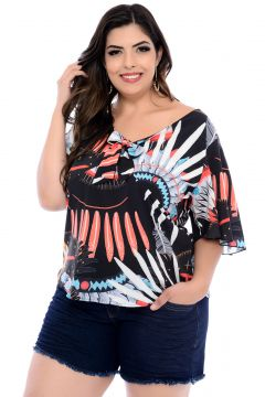 Blusa Art Final Plus Size Preta Stephani-54 Art Final
