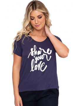 Camiseta Simone Saga Share Your Love Bordado Azul Simone Sa