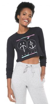 Camiseta Cropped Hurley Laugh Now Shred Later Preta Hurley