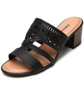 Tamanco Dakota Lasercut Preto Dakota