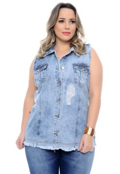 Colete Jeans Plus Size Destroyed Cambos