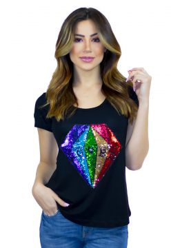 T-shirt CavalIari Loved Diamante com Aplique CAVALLARI