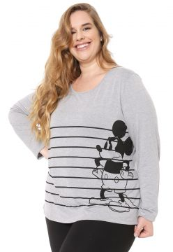 Blusa Cativa Disney Plus Mickey Mouse Cinza Cativa Disney P