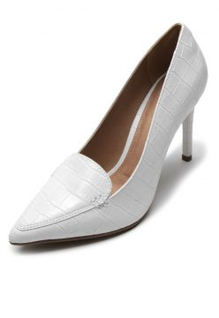 Scarpin DAFITI SHOES Croco Branco DAFITI SHOES