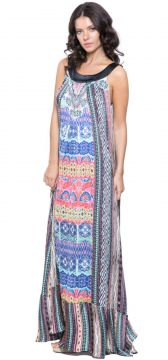 Vestido 101 Resort Wear Longo Estampado Multicolorido 101 R
