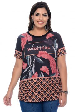 Blusa Elegance All Curves T-Shirt Plus Size Sublimada Elega