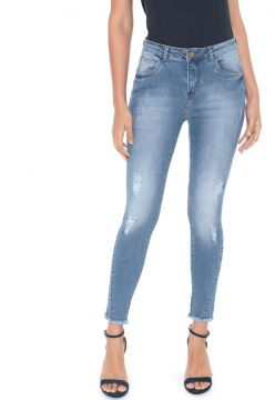 Calça Jeans MOB Skinny Cropped Destroyed Azul MOB